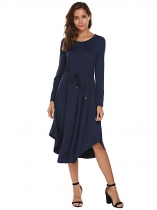 Navy blue Long Sleeve Drawstring Waist Asymmetrical Dress