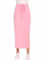 Light pink Elastic High Waist Solid Tie Pencil Slim Slit Skirt