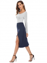 Navy blue Long Sleeve Split Patchwork Casual Midi Sheath Dress