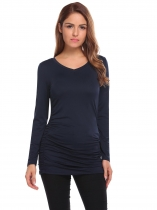 Blue V-Neck Long Sleeve Solid Ruched Tops