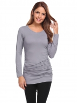 Dark gray V-Neck Long Sleeve Solid Ruched Tops