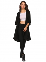 Black Bat Half Sleeve Solid Open Front Knee Length Coat