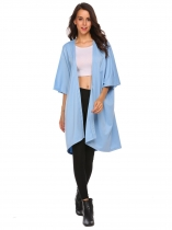 Blue Bat Half Sleeve Solid Open Front Knee Length Coat