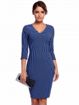 Royal Blue Sexy 3/4 Sleeve Striped V Neck Wear to Work Business Pencil Dress
