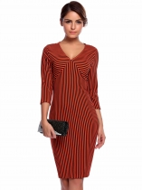 Wine red Sexy 3/4 Sleeve Striped V Neck Wear to Work Business Pencil Dress