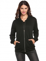 Black Long Sleeve Solid Zip-up Bomber Jacket