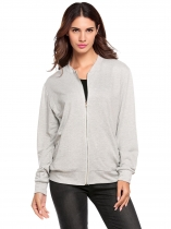 Gray Long Sleeve Solid Zip-up Bomber Jacket