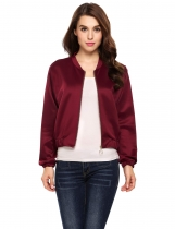Wine red Long Sleeve Solid Zip-up Short Bomber Jacket