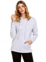 Gray Long Sleeve Solid Kangaroo Pocket Pullover Hoodie