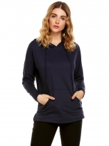 Navy blue Long Sleeve Solid Kangaroo Pocket Pullover Hoodie