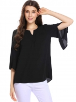 Black Split Petal Sleeve Notched Collar Solid Loose Chiffon Blouse