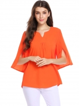 Orange Split Petal Sleeve Notched Collar Solid Loose Chiffon Blouse