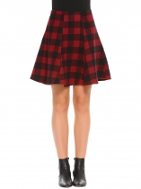 Red High Waist Plaid A-Line Woolen Skirt