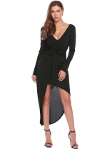 Black Bohemian Long SleeveV Neck Asymmetrical Beach Dresses