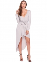 Light gray Bohemian Long SleeveV Neck Asymmetrical Beach Dresses