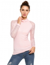 Pink Turtle Neck Lace Patchwork Slim Long Sleeve Tops