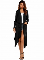 Black Long Sleeve Lace Patchwork Waterfall Asymmetric Solid Drape Open Long Cardigan