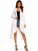 White Long Sleeve Lace Patchwork Waterfall Asymmetric Solid Drape Open Long Cardigan