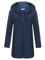 Dark blue Women Lightweight Hooded Full Zip Casual Active Outdoor Waterproof Trench Jacket