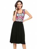 Black Sleeveless Geometric Printed Patchwork Summer Beach Dress