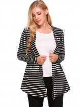 Black Open Front Long Sleeve Striped Asymmetrical Hem Cardigan
