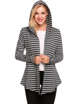 Grey Open Front Long Sleeve Striped Asymmetrical Hem Cardigan