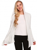 White Open Front Long Sleeve Striped Asymmetrical Hem Cardigan