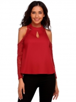 Wine red Women Fashion Cold Shoulder Mock Neck Long Sleeve Lace Patchwork T-Shirt