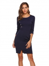Navy blue 3/4 Sleeve Solid O Neck Button Decor Split Business Pencil Dress