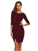 Wine red Vin rouge Femmes 3/4 manches solides O Neck Button Décor Split Wear to Work Pencil Dress