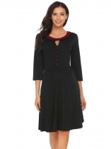 Black Negro Mujeres 3/4 Sleeve Keyhole Button Patchwork Fit y Flare Party Dress con bolsillo