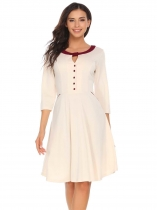 Beige Keyhole Button Patchwork Dress with Pocket