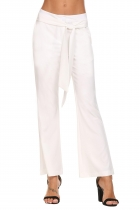 White Tie Up Zipper Casual Loose Bootcut Pants Trousers with Pockets