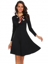 Black Tie-Bow Neck Long Sleeve Solid Dress