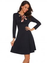 Navy blue Tie-Bow Neck Long Sleeve Solid Dress