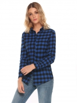 Blue Turn-down Collar Long Sleeve Plaid Button Shirt Tops