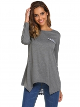 Dark gray Back Patchwork Fake Pocket Asymmetrical Hem Tops