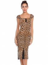Brown leopard Women Casual Square Collar Short Sleeve Package Hip Slim Bodycon Leopard Sexy Dress