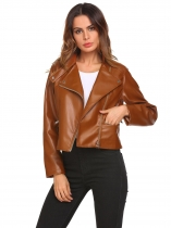 Brown Women Casual Stand Collar Long Sleeve Button Zipper Pocket Regular Fit Jacket Outwear
