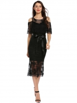 Black Floral Lace Cold Shoulder Half Sleeve Belted Long Dress