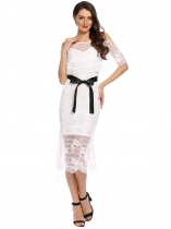 White Floral Lace Cold Shoulder Half Sleeve Belted Long Dress