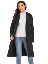 Black Women Lightweight Lapel Single-breasted Solid Casual Loose Trench Coat