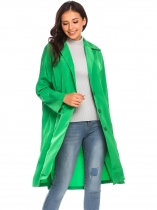 Green Women Lightweight Lapel Single-breasted Solid Casual Loose Trench Coat