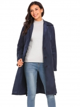 Navy blue Women Lightweight Lapel Single-breasted Solid Casual Loose Trench Coat