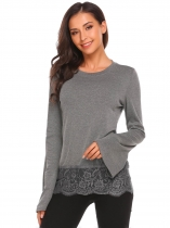 Grey Grey Mulheres O-Neck Flare Long Sleeve Lace Trim Casual Slim Fit T-Shirt Tops