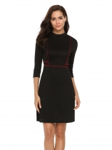 Black Stand Collar 3/4 Sleeve High Waist Dress