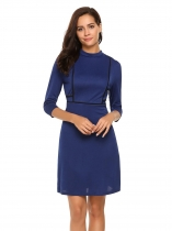 Dark blue Stand Collar 3/4 Sleeve High Waist Dress