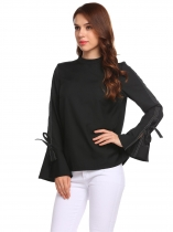 Black Women Flare Long Sleeve Tie Zipper Casual Blouse Tops