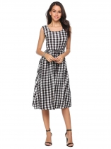 Black white Square Collar Sleeveless Plaid A-Line Dress