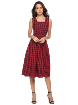 Wine red Square Collar Sleeveless Plaid A-Line Dress